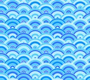 Vector Seamless Pattern: Sea Waves, Turquoise Blue Summer Background. royalty free illustration