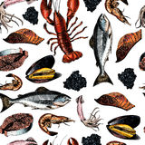 Vector seamless pattern of seafood.Lobster, squid, salmon, caviar, fillet, shrimp and oyster. Hand drawn colored icons. Delicious. Vector seamless pattern of Royalty Free Stock Images