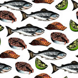 Vector seamless pattern of seafood. Salmon fish, fillet slices, steak and lime. Hand drawn engraved icons. Colored objects. Delicious food menu objects. Use Stock Photo