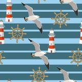 Vector seamless pattern with seagulls flying on the background of strips, lighthouses, handwheels. Pattern for fabrics, children s vector illustration