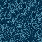 Vector seamless pattern with seahorse on navy blue background. Hippocampus background stock illustration