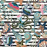 Vector seamless pattern of seashells on striped background. Hand drawn vintage engraved illustration of ocean underwater. Animals. Vector illustration Royalty Free Stock Image