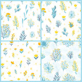 Vector seamless pattern set with field plants in yellow and blue colors on white background. For textile, backdrop etc Royalty Free Stock Photos
