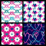 Vector seamless pattern set, flowers and hearts.  Royalty Free Stock Photos