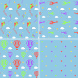 Vector seamless pattern set with helicopters, hot Stock Photos