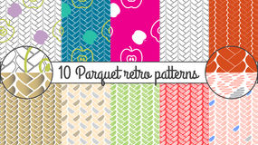 Vector seamless pattern set. Parquet retro background. Set of 10 braided geometrical patterns. Kitchen wallpaper design Royalty Free Stock Photography