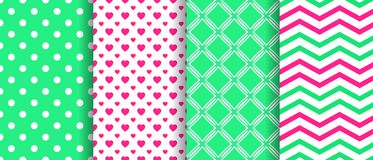 Vector seamless pattern set. Spring repeated texture. Geometric backgrounds collection. Green, pink. Cute wallpapers, wrapping pap vector illustration