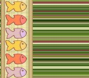 Vector seamless pattern with sewn on the cloth fish. Vector seamless pattern with fish sewn on the striped textile. The vector file 10 .eps contains a swatches royalty free illustration