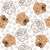 Vector seamless pattern with sharpei and traces. Stock Photo