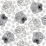 Vector seamless pattern with sharpei and traces. Monochrome back Royalty Free Stock Photos