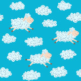 Vector seamless pattern with sheep and clouds. On a blue background Stock Photography