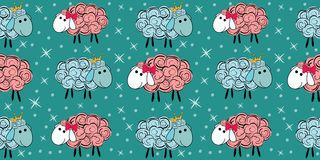 Vector seamless pattern with a sheep. Illustration of a cartoon sheep. Prints for textiles. Substrate for children`s wallpaper Royalty Free Stock Image