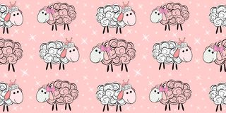 Vector seamless pattern with a sheep. Illustration of a cartoon sheep. Prints for textiles. Substrate for children`s wallpaper Royalty Free Stock Photo