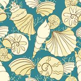 Vector seamless pattern with shells. Blue seamless pattern with shells Stock Photo