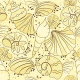 Vector seamless pattern with shells and sand Royalty Free Stock Image