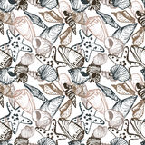 Vector seamless pattern with shells Stock Photos