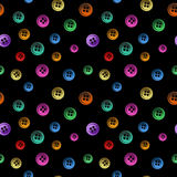 Vector seamless pattern from the shining neon buttons on a black Royalty Free Stock Image