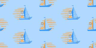Vector seamless pattern with ships and hippopotamus. Marine pattern illustration. stock illustration