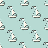 Vector seamless pattern with ships. Marine and nautical backgrounds. Sea theme. Vintage illustration. Royalty Free Stock Photo