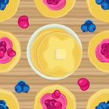 Vector seamless pattern on Shrove Tuesday pancakes with jam stock illustration