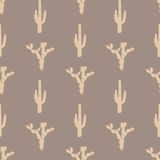 Vector seamless pattern with silhouette of cactus Stock Images