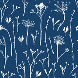 Vector seamless pattern with silhouettes of flowers and grass. Stock Photography