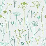 Vector seamless pattern with silhouettes of flowers and grass. Stock Images