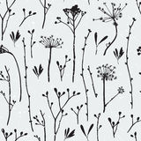 Vector seamless pattern with silhouettes of flowers and grass. Stock Photo