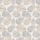 Vector seamless pattern with silhouettes of leaves. Pattern of leaves vintage style. Eps-8 Stock Photo