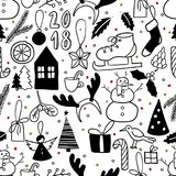 Vector seamless pattern. Simple black and white doodle. Snowman, Christmas tree, ice skate, present, bird, deer horns Royalty Free Stock Images