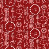 Vector seamless pattern. Simple black white doodle. Snowman, garland, citrus, angel, present, twig on red. Xmas, New Royalty Free Stock Photography