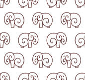Vector seamless pattern of simple elephant. line art design Stock Photos