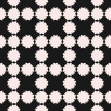 Vector seamless pattern, simple floral geometric texture. White flower silhouettes on black backdrop, square grid, repeat tiles. Abstract background, old style Royalty Free Stock Photography