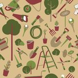 Garden tools seamless pattern Stock Image