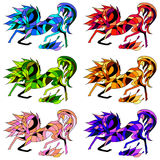 Vector seamless pattern of six horses. On a white background Royalty Free Stock Photo
