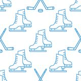 Seamless Pattern with Skates and clubs linear icon. Vector Seamless Pattern with Skates and clubs linear icons on white background Stock Photo