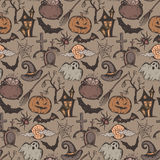 Vector seamless pattern with sketch Halloween characters Stock Image