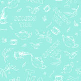 Vector seamless pattern sketch of items bun-fight and lettering on gentle turquoise background. Oolong tea from the. Vector seamless pattern sketch of items bun Royalty Free Stock Image