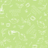 Vector seamless pattern sketch of items bun-fight and lettering on pale green background. Tea from the kettle poured Stock Images