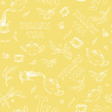 Vector seamless pattern sketch of items bun-fight and lettering on soft yellow background. Tea from the kettle poured. Vector seamless pattern sketch of items Stock Photo