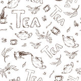 Vector seamless pattern sketch of items bun-fight and lettering. Tea from the kettle poured into cups Royalty Free Stock Photo