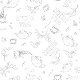 Vector seamless pattern sketch of items bun-fight and lettering on white background. Tea from the kettle poured into Royalty Free Stock Photography