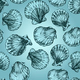 Vector seamless pattern sketch of seashells on blue background. Hand-drawn sea animals Royalty Free Stock Photos