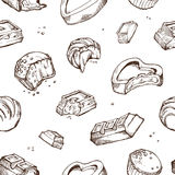 Vector seamless pattern of sketches bitten chocolates. Sweet rolls, bars, glazed, cocoa beans. Isolated objects on a. Vector seamless pattern of hand-drawn Stock Photography