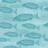 Vector seamless pattern with sketches of fish on blue background.  Royalty Free Stock Photography