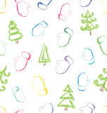 Vector seamless pattern with sketching mittens and christmas tre Stock Photo
