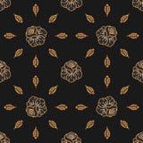 Vector Seamless pattern Skull seamless pattern, Gold roses dark background Royalty Free Stock Photo