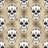 Vector seamless pattern with skulls. Royalty Free Stock Image