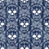 Vector seamless pattern with skulls. Royalty Free Stock Photos