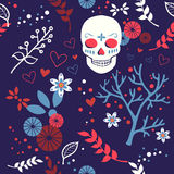 Vector seamless pattern with skulls Royalty Free Stock Photography